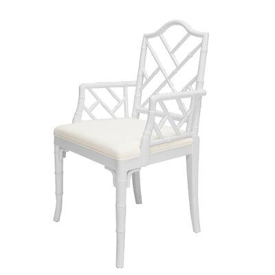 Worlds Away Linen Arm Chair Frame Color: White in 2020