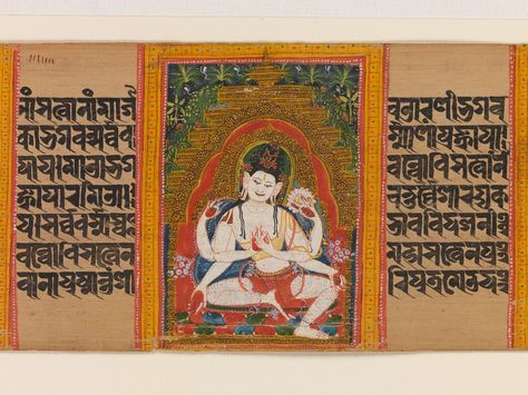 Six-Armed Avalokitesvara Expounding the Dharma: Folio from a Manuscript of the Ashtasahasrika Prajnaparamita (Perfection of Wisdom), early 12th century. India (West Bengal) or Bangladesh. The Metropolitan Museum of Art, New York. Purchase, Lila Acheson Wallace Gift, 2001 (2001.445j) | Palm leaf manuscripts housed in the great north Indian monasteries were important for the spread of doctrine and many were brought by monks to Tibet. This text assembles the totality of Mahayana doctrine. #Buddhism