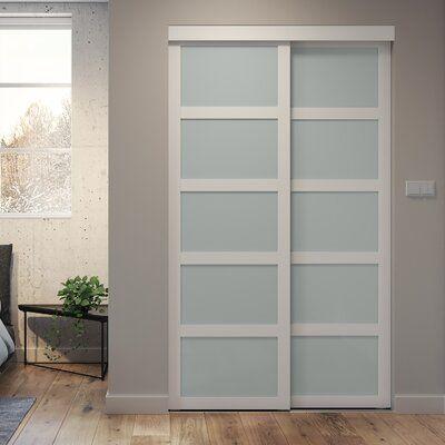 Colonial Elegance Indoor Studio Paneled Wood And Pvc Vinyl Sliding Closet Doors Wayfair In 2020 Sliding Closet Doors Glass Closet Doors Closet Doors