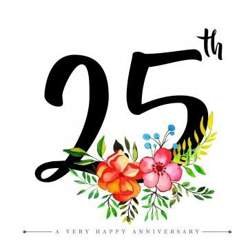 Watercolor Floral Happy Anniversary Number 25 Watercolor Color Floral Png And Vector With Transparent Background For Free Download Happy Anniversary Happy 25th Anniversary Birthday Logo
