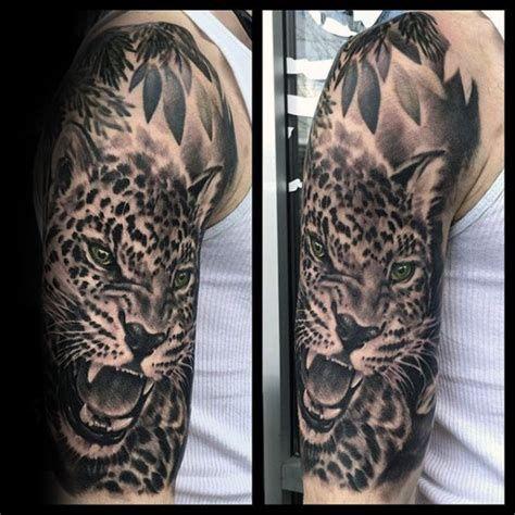 Grey Wash Tattoo Sleeve Designs Tattoideas In 2020 Leopard Tattoos Animal Sleeve Tattoo Jaguar Chest Tattoo