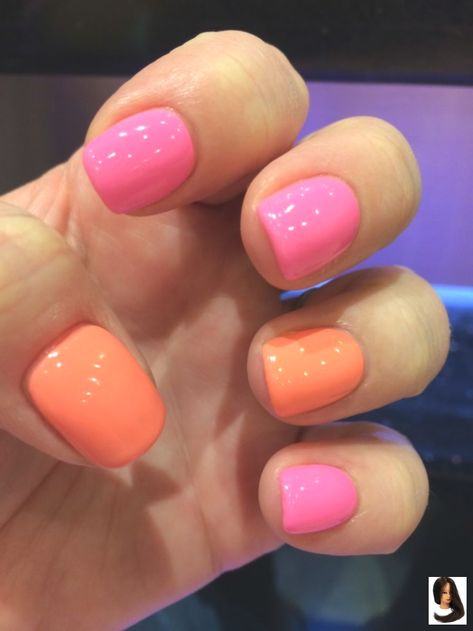 #gelish #neon #orange #pink Neon pink and orange gelish! Neon pink and orange gelish!