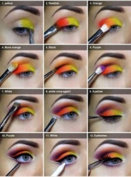 Step By Step Beautiful Easy To Do Colored Eye Makeup Pride Makeup