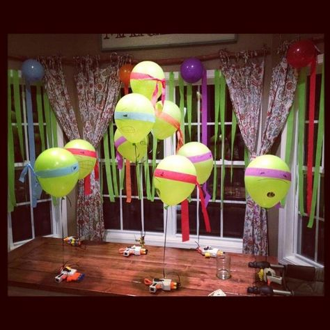 This is a cute twist on the turtle themed birthday party with Teenage Mutant Ninja Turtle Balloons.  It looks like they used streamers for the bandannas!  Love the creativity!