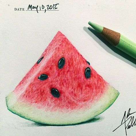 """• Wonderful watermelon  drawing ✏ by @adampadilla follow him ! • Follow @art_hyperrealistic for see amazing artworks ! • #art_spotlight #arts_gallery…"""