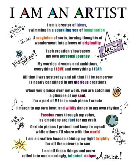 I Am An Artist Poem Mantra Creative Inspiration 8 X 10 Print
