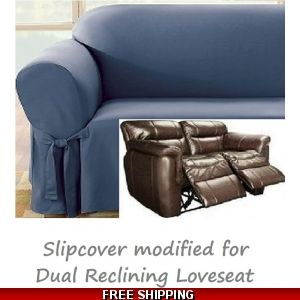 Remarkable Dual Reclining Sofa Slipcover Suede Chocolate Sure Fit Machost Co Dining Chair Design Ideas Machostcouk