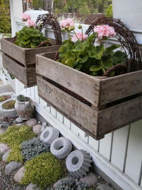 Window boxes from vintage crates .and cool looking cement shapes (made from vintage bundt cake pans?) - My Garden Window Cageots Vintage, Vintage Crates, Diy Garden Decor, Garden Art, Garden Design, Garden Decorations, Garden Cottage, Landscape Design, Rustic Gardens