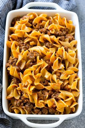 Ground Beef And Egg Noodles Tossed In Tomato Sauce Inside A Baking Dish Beef Noodle Casserole Beef And Noodles Noodle Casserole