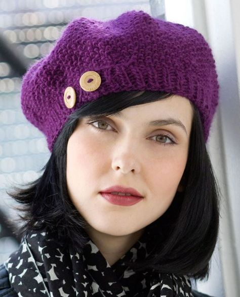 red wool classic beret elegant wide winter knitted beanie knit simple instruction slouchy hat for women KNITTING PATTERN x Beretto Beanie