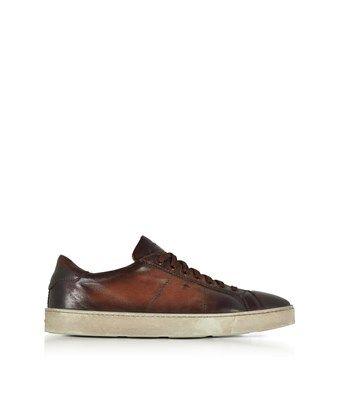 Santoni Men's Brown Leather Sne... low cost for sale zIwN2JnLJ