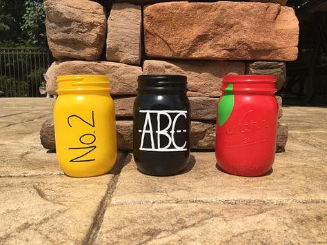 School Themed Mason Jars (Set of 3) - Teacher Gift - Teacher Appreciation - Classroom Decor -