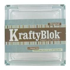 """This Krafty Blok Glass Block from Diamond Tech is versatile and with a little creativity can be turned into a bank, decorative lighting, bookends, vase and more. The block measures 7 1/2"""" x 3 1/8"""" x 7 1/2"""". There is a 4 3/8"""" x 1"""" opening on the top and it comes with a plastic topper. $11.99"""
