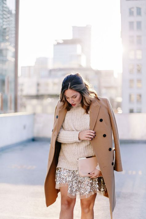 Sequin dress, cozy wool knit, camel coat, blush clutch #style #holidays #sequins
