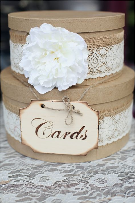 Can get these from Hobby Lobby! Cut a slit in the top one so the cards can drop down! Make sure someone checks it when guests arrive so it doesn't get too full