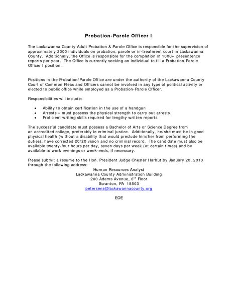 Federal probation officer cover letter Probation officer cover - parole officer sample resume