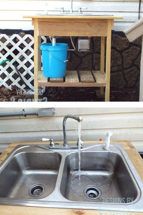 See how she made this outdoor sink on a budget with cheap home depot lumbar, an old sink, old faucet and plumbing parts from the hardware store.