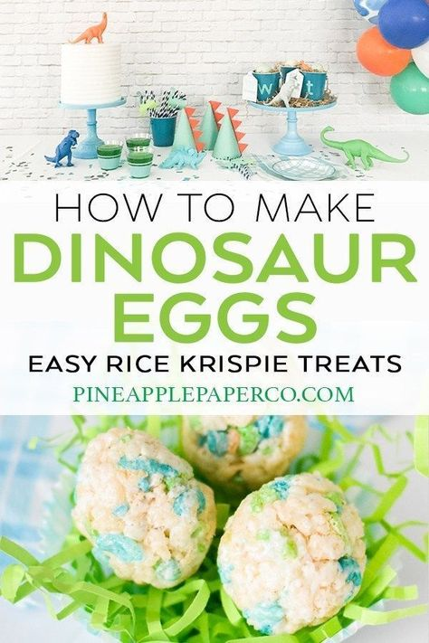 Dinosaur Egg Rice Krispie Treats - Dino Party Food - Pineapple Paper Co. - - Make Dinosaur Egg Rice Krispie Treats that kids will love and will be the HIT of your Dinosaur Birthday Party! When planning Dinosaur Party Food Ideas, definitely make these! Dinosaur Food, Dinosaur Party Favors, Dinosaur Eggs, Dinosaur Party Activities, Dinosaur Images, Dinosaur Design, Dinosaur First Birthday, 3rd Birthday, Kid Birthday Party Food