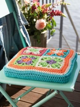 Chunky Merino Seat Cushion in Forest Green Green Crochet Chair Cushion Green Granny Square Chair Pad Hand Crochet Green Chair Cushion