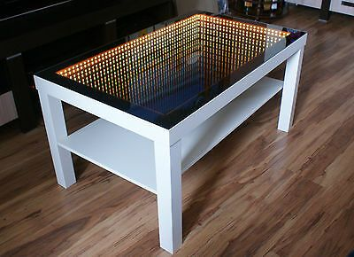 Oak Table Led 3d Coffeetable Illuminated Infinity Mirror Tunnel Effect Remote Rf Ebay In 2020 Infinity Mirror White Table Oak Table