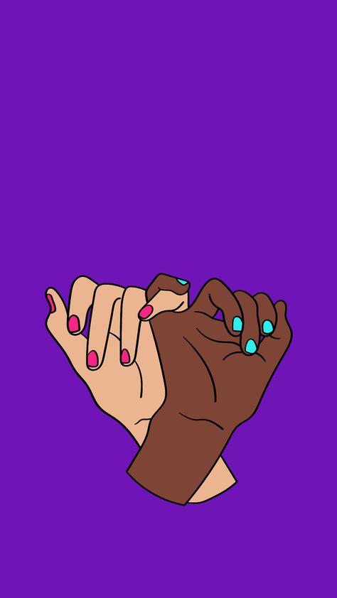 Wallpaper com contrastes fortes, representando união, colaboração, cumplicidade, amizade. Duas mãos com unhas pintadas.