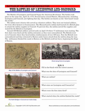 The Battles of Lexington and Concord   Lesson Plans for 4th Grade ...