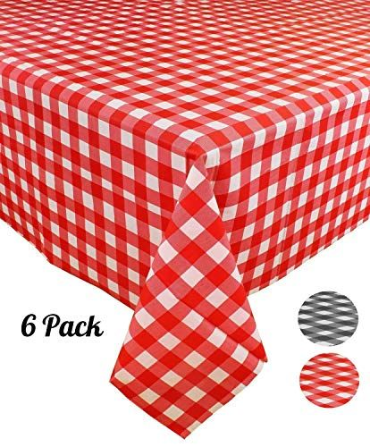 6 Pack Plastic Red And White Checkered Tablecloth Disp Https Www Amazon Com Dp B07kfph7vl Ref Cm Sw R Pi Checkered Tablecloth Gingham Party Table Cloth