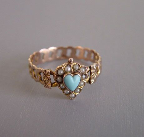 R0605 Lovely Antique Victorian Turquoise /& Seed Pearl Elongated Navette 14k Gold Ring Fine Jewelry Size 5 14 Vintage Ring