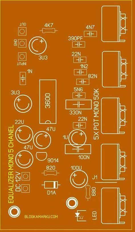 Pcb Equalizer 5 Channel Electronics Circuit Circuit Board Design Equalizer
