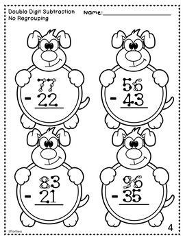 Touch Math Subtraction With Dog Theme Double Digit No Regrouping Touch Math Kids Math Worksheets Math Subtraction