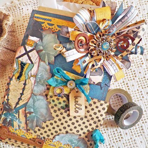 Hello Gift Bag - Lisa Novogrodski - Scrapbook.com- take a simple kraft paper gift bag and dress it up with ribbon, paper, inks, and stamps!