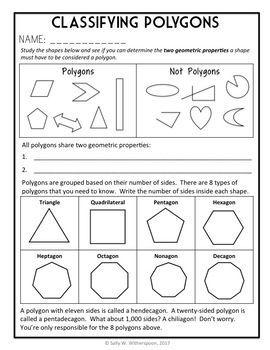 Classifying Polygons 5th Grade Geometry 8 Page Lesson Packet And