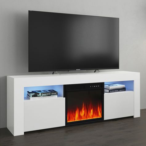 Milano 145ef White Tv Stand In 2020 Fireplace Tv Stand Electric