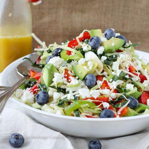 Healthy Kale and Cabbage Slaw Salad with Avocado via @american-heritage-cooking// #salad #avocado #recipe