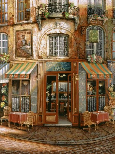 Cafeteria Paris, Cross Stitch Designs, Cross Stitch Patterns, Illustration Art, Illustrations, Cross Stitch Supplies, Shop Fronts, Beautiful Paintings, Belle Photo