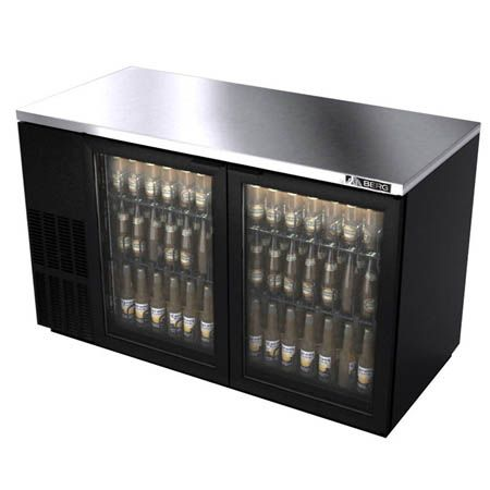 Berg Stainless Steel Top Back Bar Cooler With Glass Doors 60 W Glass Door Glass Hinges Back Bar