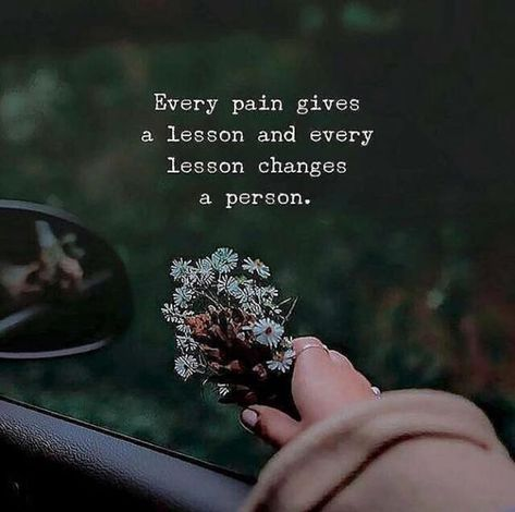 Positive Quotes : Every pain gives a lesson..