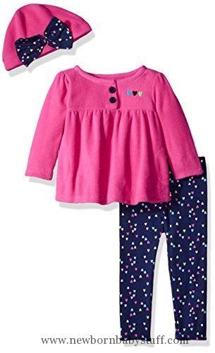 bc1bf6df2190a Baby Girl Clothes Gerber Baby 3 Piece Micro Fleece Top, Pant and Cap ...