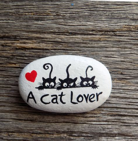 A Cat Lover Painted Rock,Decorative Accent Stone, Paperweight by HeartandSoulbyDeb on Etsy
