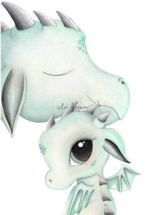 Dex & Dad Dragon Whimsical Nursery Art Print | Petit Luxe Bebe
