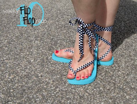 Weekly Flip Flop Redo: lace-up sandals, 80's style.