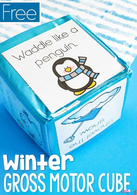 This winter themed gross motor brain break cube is sure to be a hit with the kids! A quick activity to get the kids moving during the cold winter months. Winter Activities for Kids Winter Activities For Kids, Winter Crafts For Kids, Winter Fun, Toddler Activities, Winter Games, Winter Preschool Activities, Toddler Preschool, Eyfs Activities, Toddler Teacher