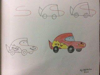 كيفية رسم سيارة Easy Drawings Alphabet Drawing Kindergarden Art