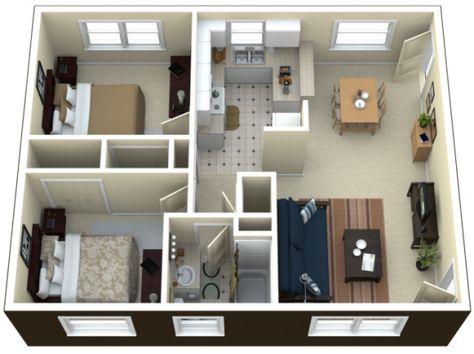 3D small house floor plans under 1000 sq ft smallhouselover - maison en 3d gratuit
