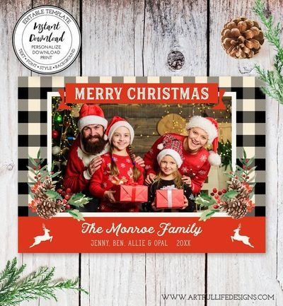Buffalo Plaid Photo Holiday Card Template Rustic Christmas Etsy In 2020 Christmas Photo Card Template Holiday Card Template Holiday Photo Cards