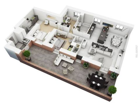 dekorasi rumah minimalist: 50 denah rumah minimalis 3d (3