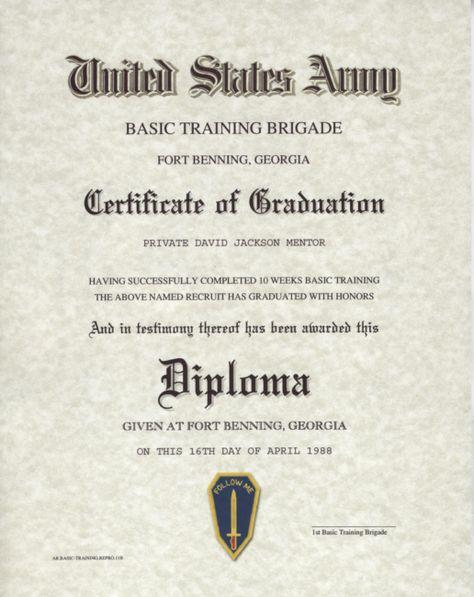 Army Basic Training Certificate United States Army   Military - training certificate