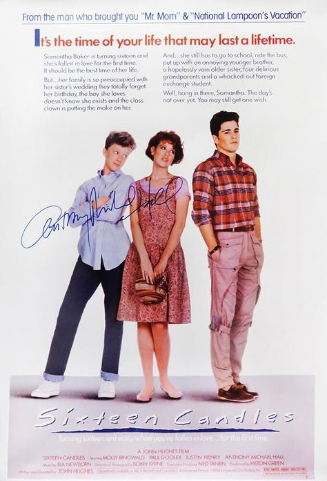 Anthony Michael Hall Signed Sixteen Candles 24x36 Full Size Movie Poster