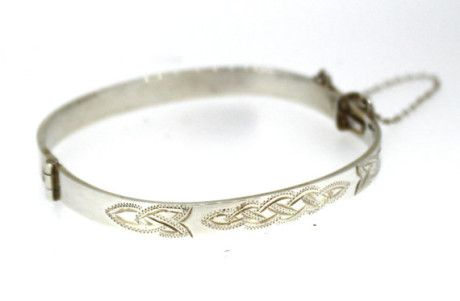 Celtic Design Sterling Silver Baby Bangle. Gorgeous Irish made gifts. Unique gift ideas for the baby shower, newborn baby, or Christening.