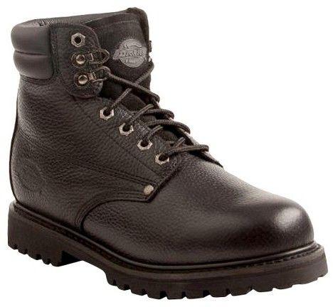 Dickies Men's Raider Leather Steel Toe Work Boots - Black